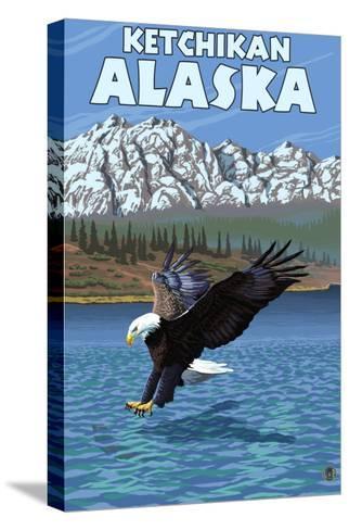 Bald Eagle Diving, Ketchikan, Alaska-Lantern Press-Stretched Canvas Print