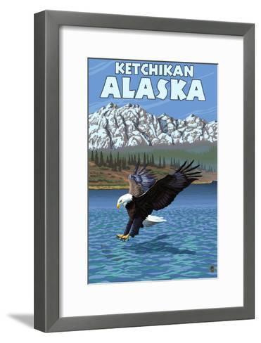 Bald Eagle Diving, Ketchikan, Alaska-Lantern Press-Framed Art Print