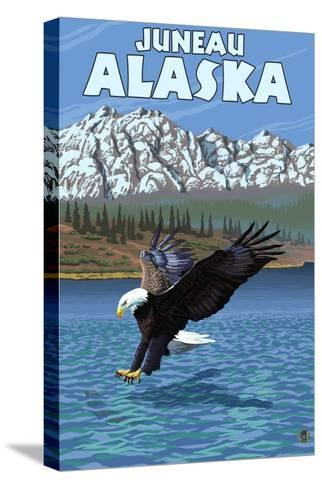 Bald Eagle Diving, Juneau, Alaska-Lantern Press-Stretched Canvas Print