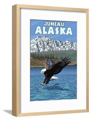 Bald Eagle Diving, Juneau, Alaska-Lantern Press-Framed Art Print