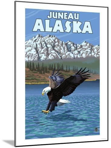 Bald Eagle Diving, Juneau, Alaska-Lantern Press-Mounted Art Print