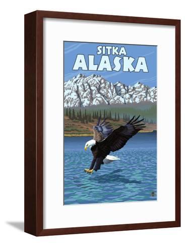 Bald Eagle Diving, Sitka, Alaska-Lantern Press-Framed Art Print