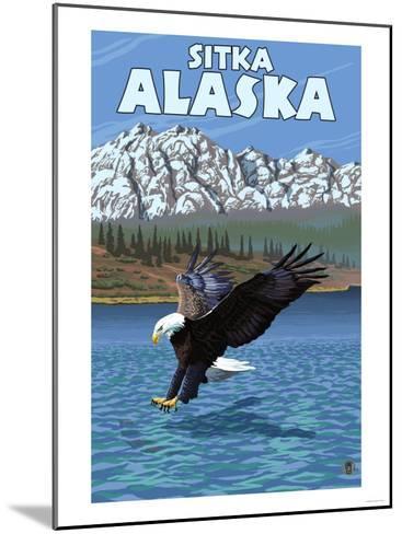 Bald Eagle Diving, Sitka, Alaska-Lantern Press-Mounted Art Print