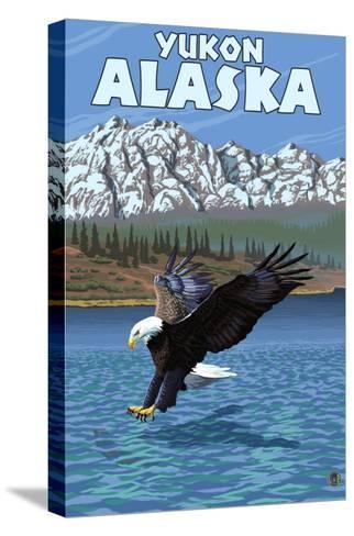 Bald Eagle Diving, Yukon, Alaska-Lantern Press-Stretched Canvas Print