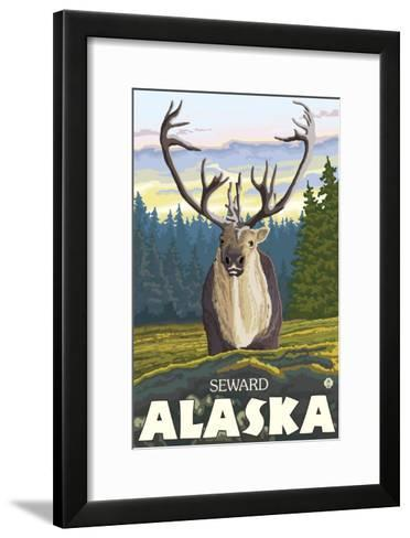 Caribou in the Wild, Seward, Alaska-Lantern Press-Framed Art Print