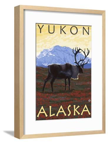 Caribou Scene, Yukon, Alaska-Lantern Press-Framed Art Print