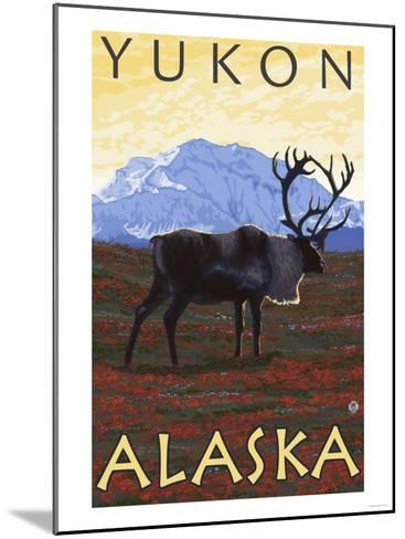 Caribou Scene, Yukon, Alaska-Lantern Press-Mounted Art Print