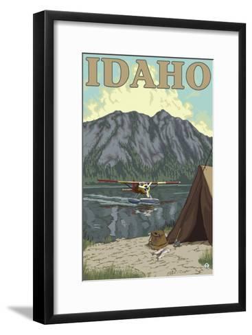 Bush Plane & Fishing, Idaho-Lantern Press-Framed Art Print