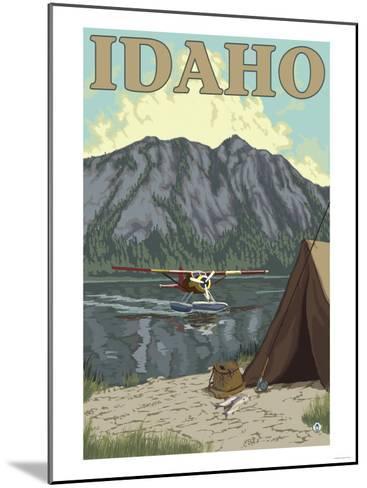 Bush Plane & Fishing, Idaho-Lantern Press-Mounted Art Print