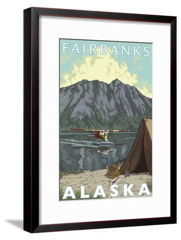 Bush Plane & Fishing, Fairbanks, Alaska-Lantern Press-Framed Art Print