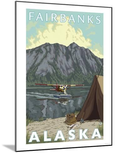 Bush Plane & Fishing, Fairbanks, Alaska-Lantern Press-Mounted Art Print