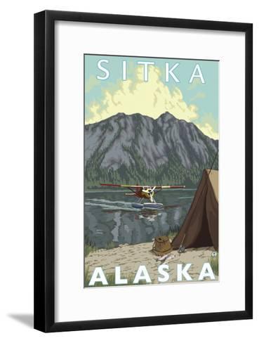 Bush Plane & Fishing, Sitka, Alaska-Lantern Press-Framed Art Print
