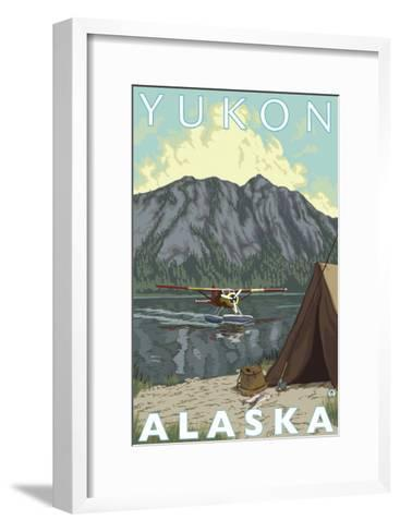 Bush Plane & Fishing, Yukon, Alaska-Lantern Press-Framed Art Print