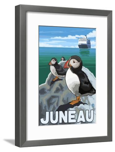 Puffins & Cruise Ship, Juneau, Alaska-Lantern Press-Framed Art Print