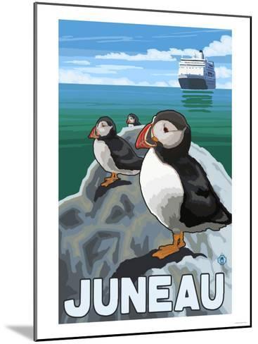 Puffins & Cruise Ship, Juneau, Alaska-Lantern Press-Mounted Art Print