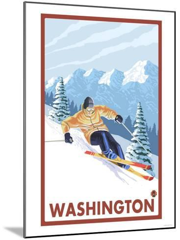 Downhhill Snow Skier, Washington-Lantern Press-Mounted Art Print