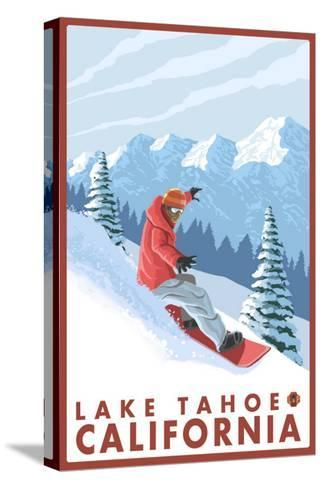 Snowboarder Scene, Lake Tahoe, California-Lantern Press-Stretched Canvas Print