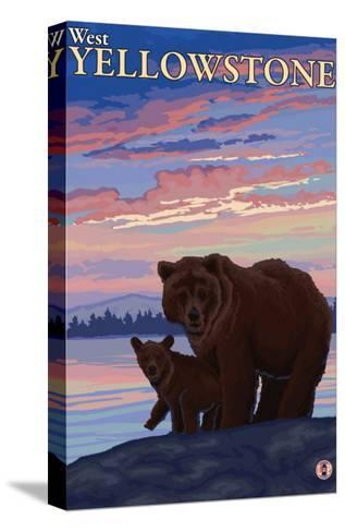 Bear and Cub, West Yellowstone, Montana-Lantern Press-Stretched Canvas Print