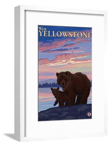 Bear and Cub, West Yellowstone, Montana-Lantern Press-Framed Art Print