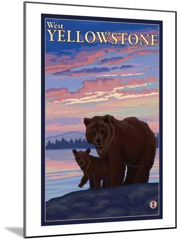 Bear and Cub, West Yellowstone, Montana-Lantern Press-Mounted Art Print