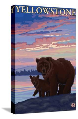 Bear and Cub, Yellowstone National Park-Lantern Press-Stretched Canvas Print