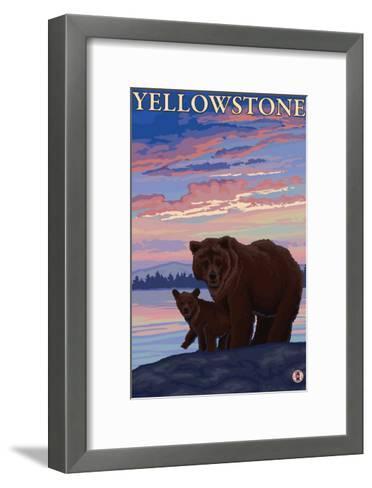 Bear and Cub, Yellowstone National Park-Lantern Press-Framed Art Print