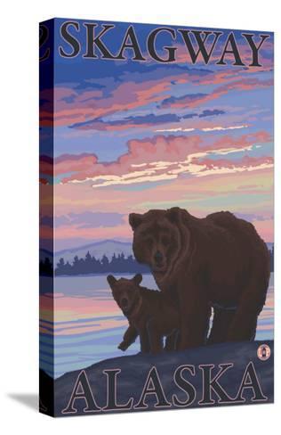 Bear and Cub, Skagway, Alaska-Lantern Press-Stretched Canvas Print