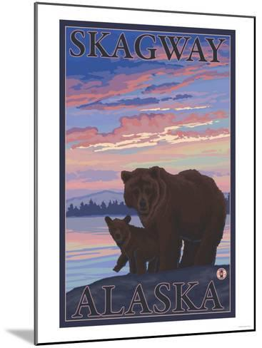 Bear and Cub, Skagway, Alaska-Lantern Press-Mounted Art Print