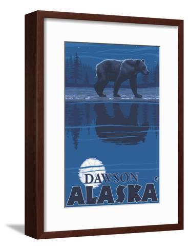 Bear in Moonlight, Dawson, Alaska-Lantern Press-Framed Art Print