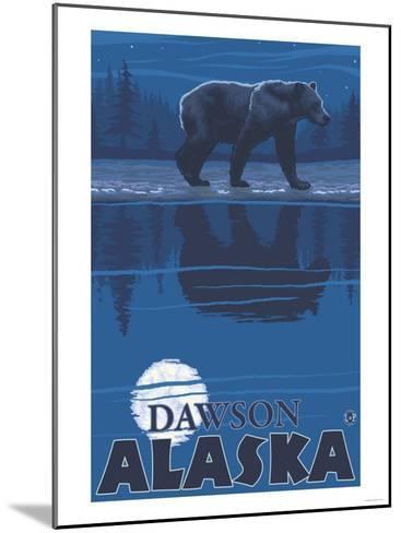 Bear in Moonlight, Dawson, Alaska-Lantern Press-Mounted Art Print