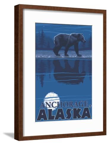 Bear in Moonlight, Anchorage, Alaska-Lantern Press-Framed Art Print