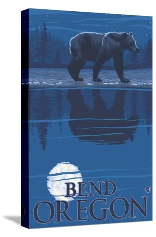 Bear in Moonlight, Bend, Oregon-Lantern Press-Stretched Canvas Print