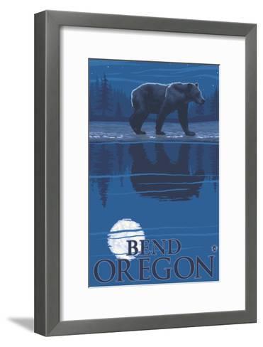 Bear in Moonlight, Bend, Oregon-Lantern Press-Framed Art Print