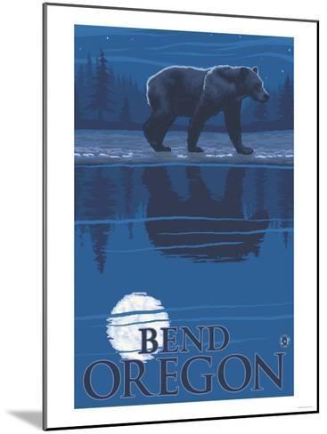 Bear in Moonlight, Bend, Oregon-Lantern Press-Mounted Art Print