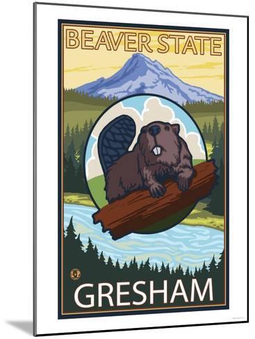 Beaver & Mt. Hood, Gresham, Oregon-Lantern Press-Mounted Art Print