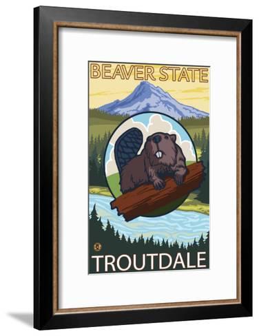 Beaver & Mt. Hood, Troutdale, Oregon-Lantern Press-Framed Art Print