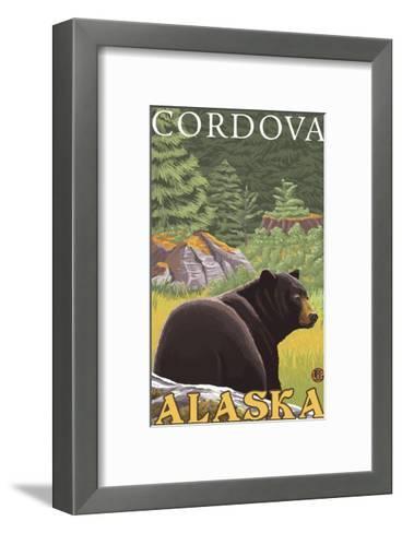 Black Bear in Forest, Cordova, Alaska-Lantern Press-Framed Art Print