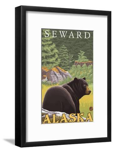 Black Bear in Forest, Seward, Alaska-Lantern Press-Framed Art Print