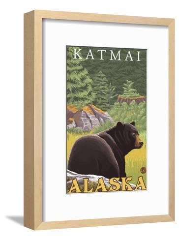 Black Bear in Forest, Katmai, Alaska-Lantern Press-Framed Art Print