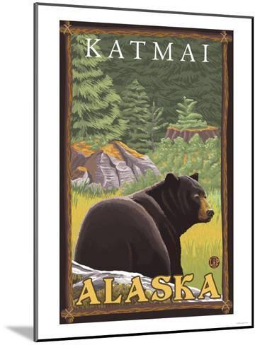 Black Bear in Forest, Katmai, Alaska-Lantern Press-Mounted Art Print
