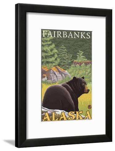 Black Bear in Forest, Fairbanks, Alaska-Lantern Press-Framed Art Print