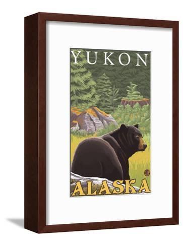 Black Bear in Forest, Yukon, Alaska-Lantern Press-Framed Art Print