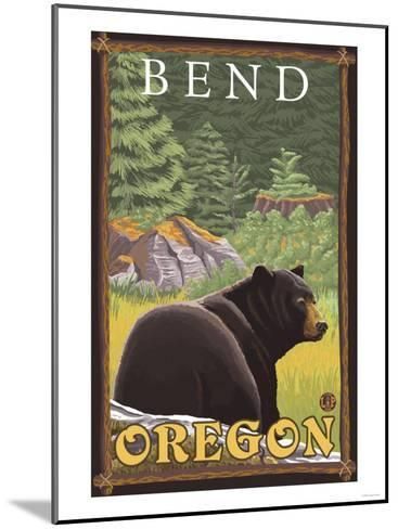 Black Bear in Forest, Bend, Oregon-Lantern Press-Mounted Art Print