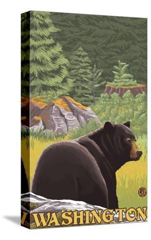 Black Bear in Forest, Washington-Lantern Press-Stretched Canvas Print