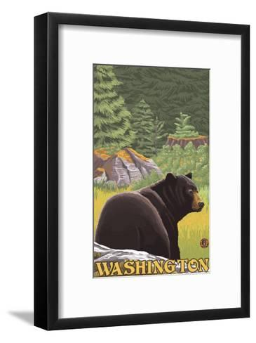Black Bear in Forest, Washington-Lantern Press-Framed Art Print