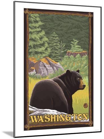 Black Bear in Forest, Washington-Lantern Press-Mounted Art Print
