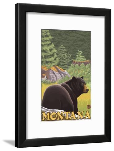 Black Bear in Forest, Montana-Lantern Press-Framed Art Print
