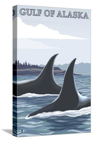 Orca Whales No.1, Gulf of Alaska-Lantern Press-Stretched Canvas Print