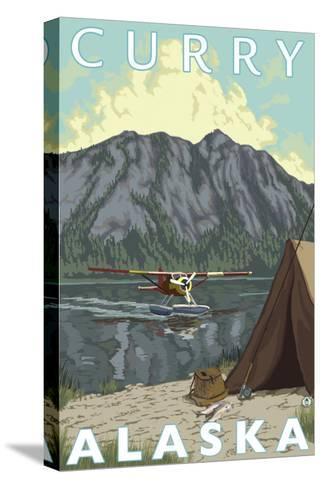 Bush Plane & Fishing, Curry, Alaska-Lantern Press-Stretched Canvas Print