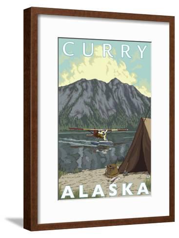 Bush Plane & Fishing, Curry, Alaska-Lantern Press-Framed Art Print